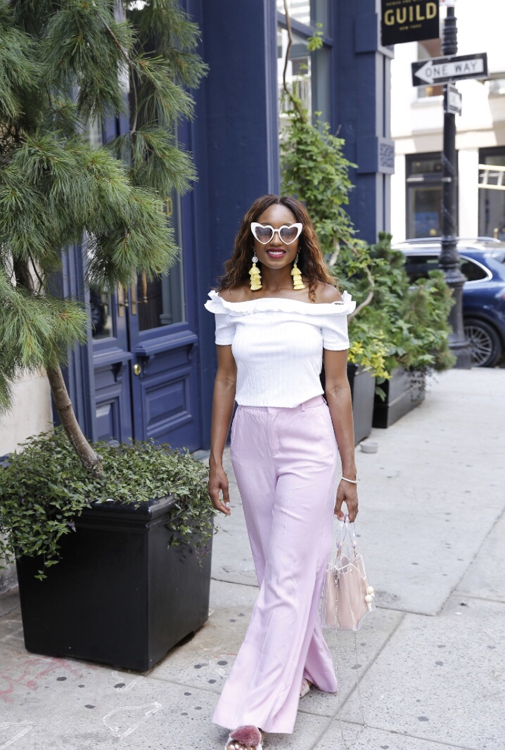 d8b2f33768 ... leg pants (the color of the season) in the Zara sale along with this white  off-the-shoulder ruffle top. I think they're sold out, but I'm sharing  others ...